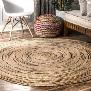 nuLOOM Natural Natural Braided Causal Fiber Jute Cotton Ombre Swirl Area Rug