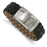 Chisel Stainless Steel Polished Black Leather Buckle Bracelet - china