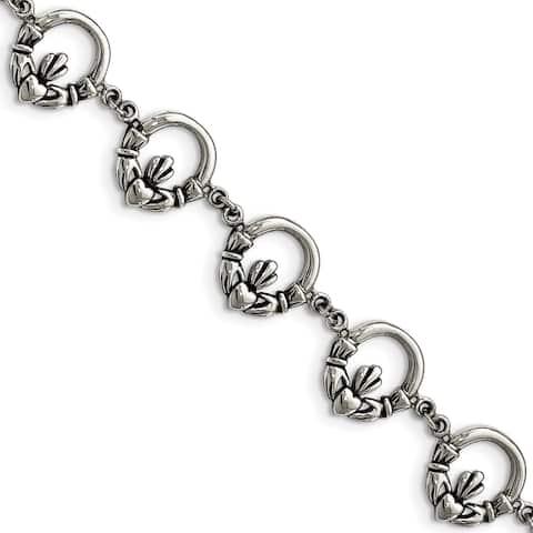 Chisel Stainless Steel Polished Claddagh Bracelet