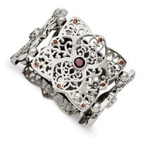 Chisel Stainless Steel Red CZ Stretch Bracelet - china