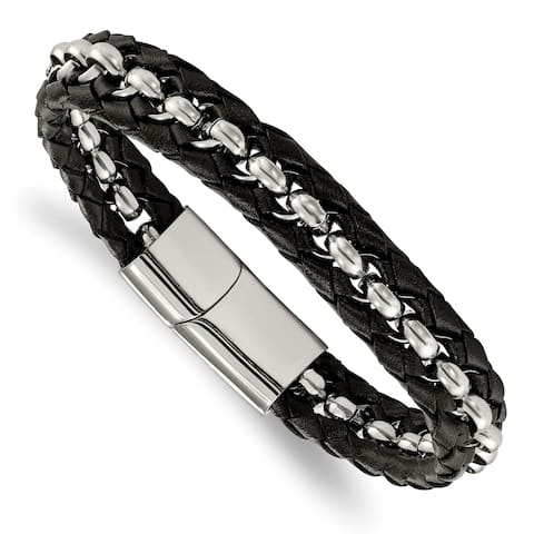 Chisel Stainless Steel Polished Black Leather Braided 8.5 Inch Bracelet