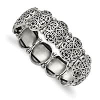 Chisel Stainless Steel Polished and Antiqued Oval Stretch Bracelet - china