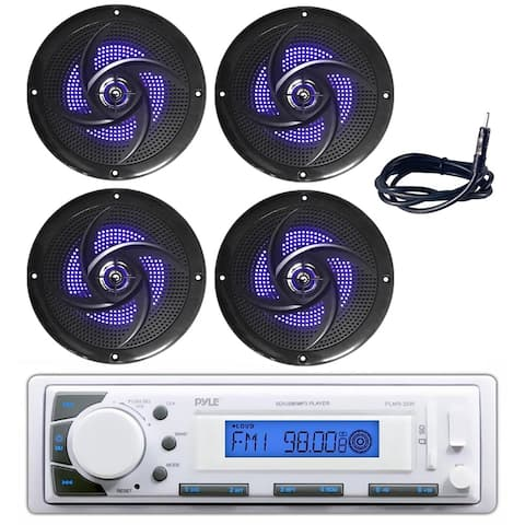"""Pyle PLMR20W Marine Radio Headunit Receiver, 4"""" 100W Waterproof Rated Boat Speakers with Built-in LED Lights, Antenna wire"""