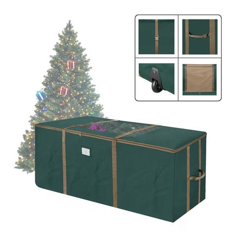 Elf Stor Rolling Christmas Tree Storage Duffel Bag w/Window 9' Tree