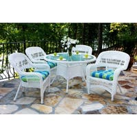 Tortuga Outdoor Portside 5pc Wicker Dining Set w. Cushions - White Wicker