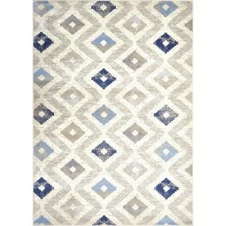 "Melrose Modern Geometric Ivory Blue Area Rug by Home Dynamix - 6'6"" x 9'6"""