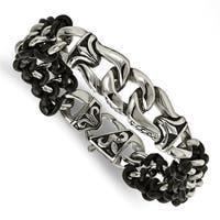 Chisel Stainless Steel Polished Antiqued Black Leather Bracelet - china