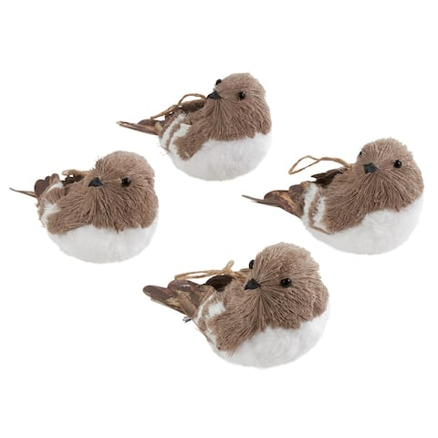 Feathered Bird Ornaments (Set of 4)