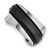 Chisel Stainless Steel Polished with Leather Cuff Bangle - china