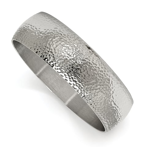 Chisel Stainless Steel Polished and Brushed Hammered Bangle