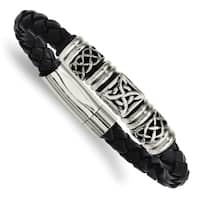 Chisel Stainless Steel Black Leather with Antiqued Beads 8.5 Inch Bracelet - china