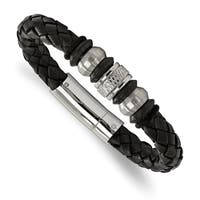 Chisel Stainless Steel Brushed and Polished Black Leather Black IP-plated Black Rubber Bracelet - china
