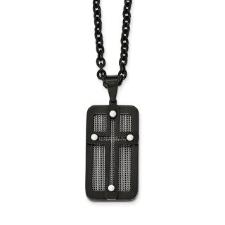 Stainless Steel Polished Black IP-plated with Wire Inlay Cross Necklace - china