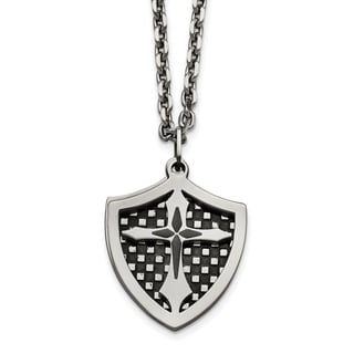 Chisel Stainless Steel Black IP Plated Moveable Shield Pendant Necklace