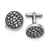 Stainless Steel Antiqued and Textured Cuff Links
