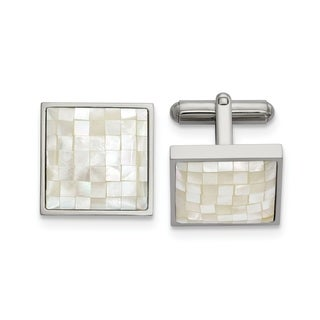 Chisel Stainless Steel Polished with Mother of Pearl Cuff Links