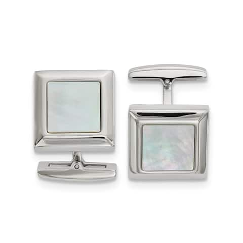 Chisel Stainless Steel Polished Mother of Pearl Square Cuff Links