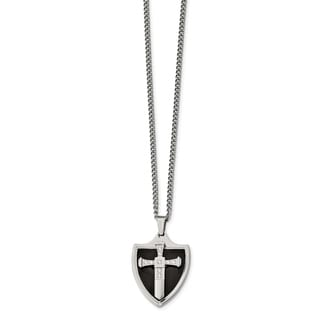 Chisel Stainless Steel Polished Black IP Plated With CZ Cross Shield Necklace