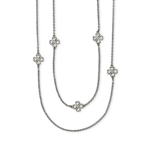 Chisel Stainless Steel Two Strand Clover Necklace
