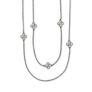 Chisel Stainless Steel Two Strand Clover Necklace - china