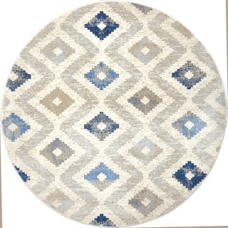 """Melrose Modern Geometric Ivory Blue Area Rug by Home Dynamix - 7'10"""" round"""