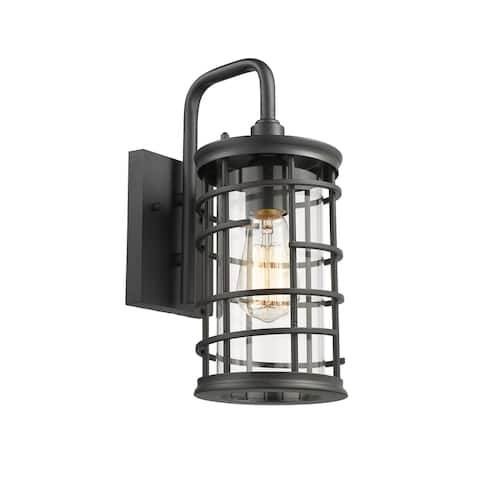 1-light Textured Black Outdoor Wall Sconce
