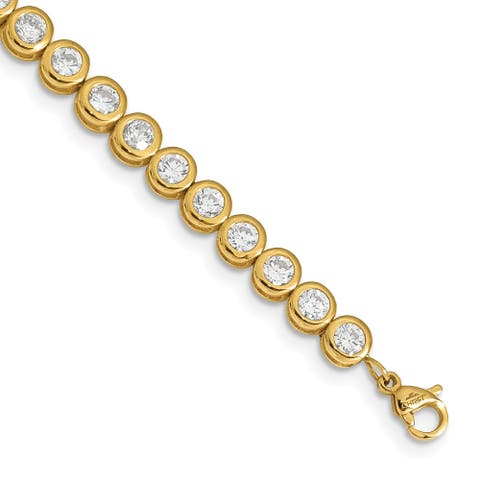 Chisel Stainless Steel Yellow IP-plated Polished CZ Tennis with 1 Inch Extension Bracelet