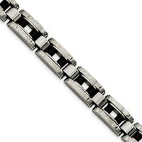 Chisel Stainless Steel Black IP-plated and Greek Key 8.5 Inch Bracelet - china