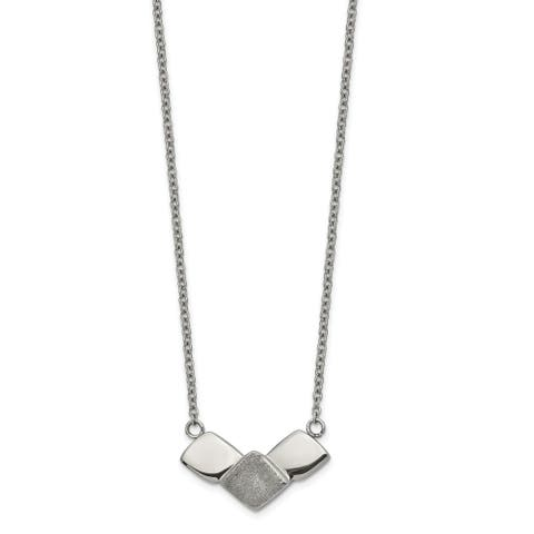 Chisel Stainless Steel Polished Laser-cut with 2.5-inch Extension 15-inch Necklace