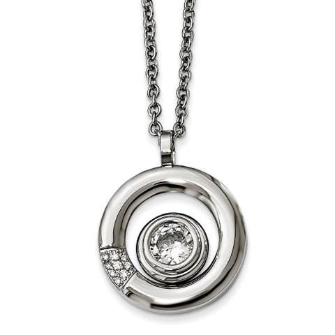 Chisel Stainless Steel Polished CZ Circle Necklace