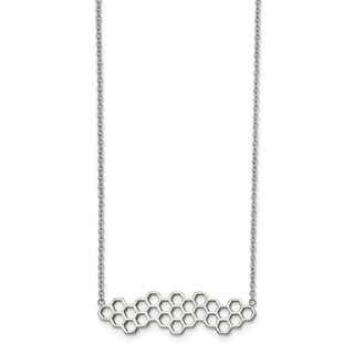 Chisel Stainless Steel Polished Honey Comb 17.75-inch with 1.25-inch Extension Necklace - china