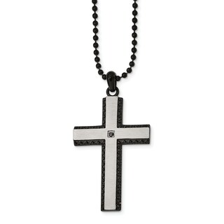 Chisel Stainless Steel Brushed Black IP Plated Black CZ Cross Necklace