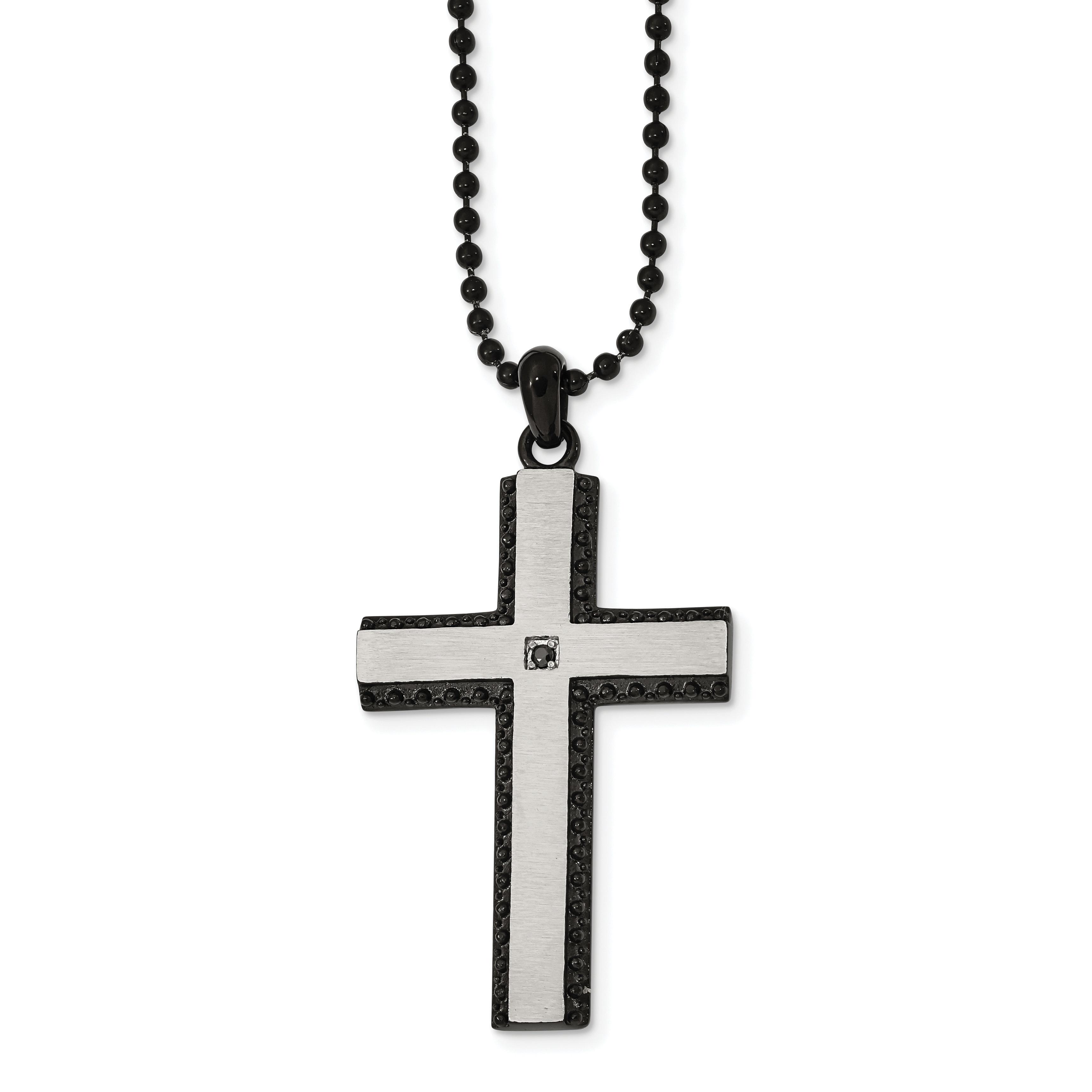 "Chisel Stainless Steel Brushed Finish Black CZ Pendant Necklace 22/"""