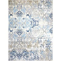 "Melrose Damask Ivory Blue Area Rug by Home Dynamix - 9'2"" x 12'5"""