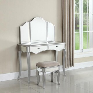 Best Master Furniture Silver Glass/Wood/Linen Mirrored Vanity Set