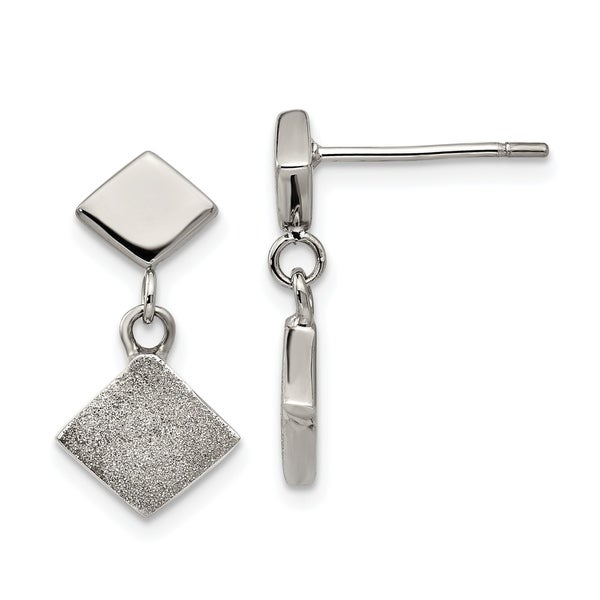 Chisel Stainless Steel Polished Laser-cut Post Dangle Earrings