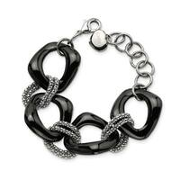 Chisel Stainless Steel Black Ceramic Link Bracelet - china