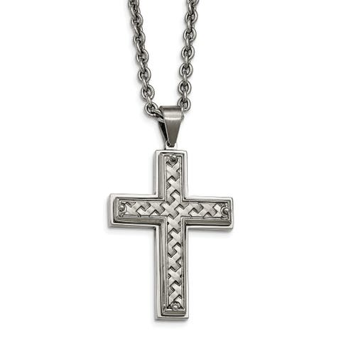 Chisel Stainless Steel Polished Weaved Pattern Cross Necklace