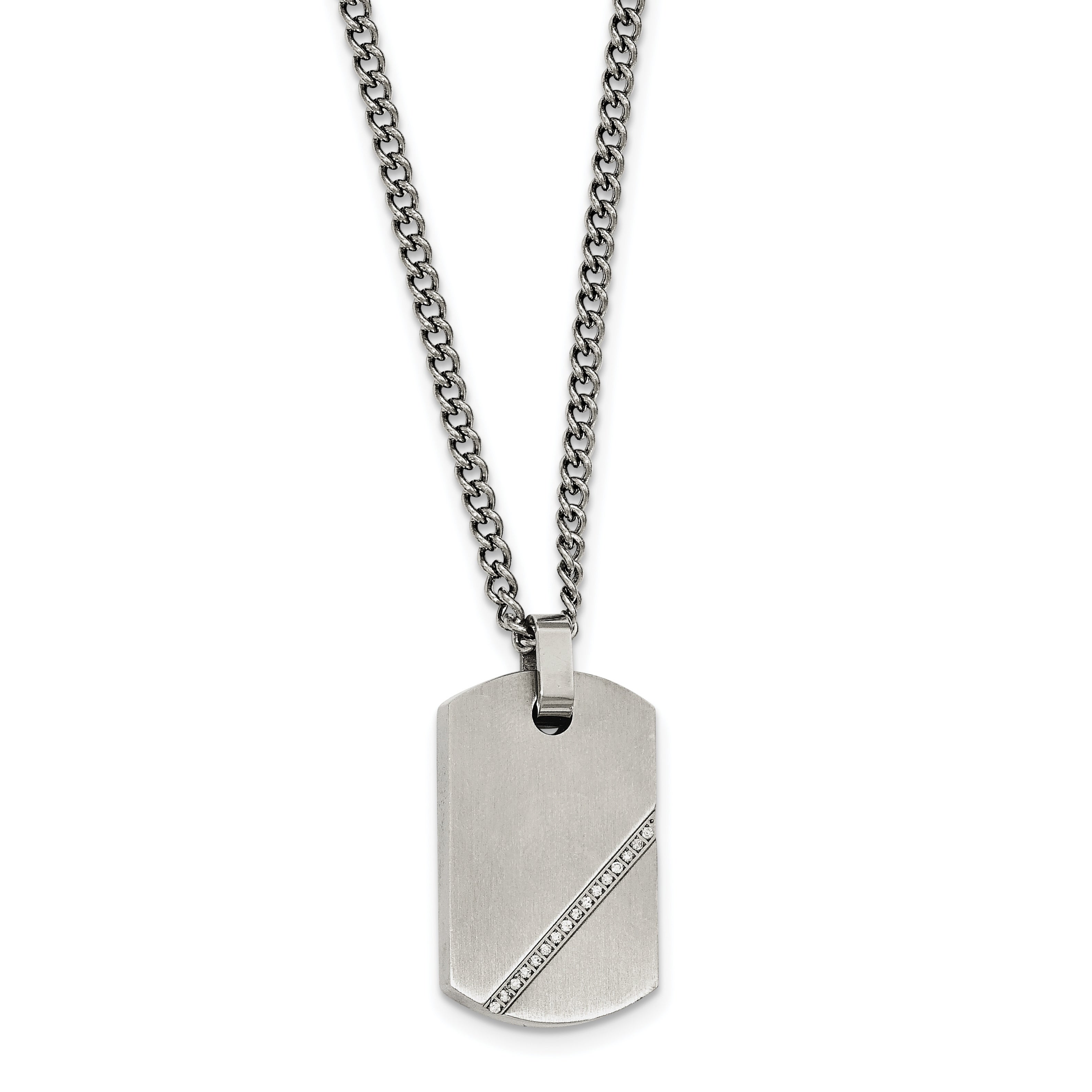 a469e45cedc Chisel Stainless Steel Small Brushed CZ Dog Tag Necklace | eBay