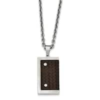 Chisel Stainless Steel Reversible Brushed and Polished with Brown Leather Necklace - china