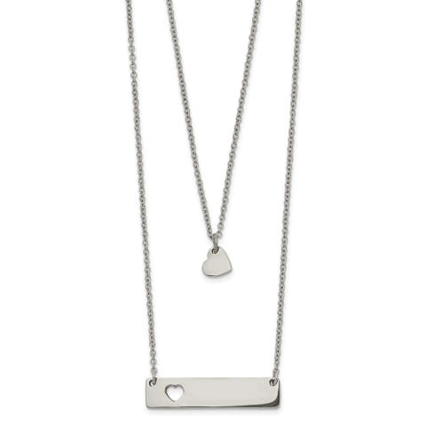 Chisel Stainless Steel Polished Heart and Bar Multi Strand 1.5-inch Extension Necklace