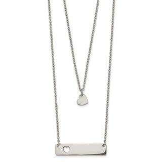 Chisel Stainless Steel Polished Heart and Bar Multi Strand 1.5-inch Extension Necklace - china