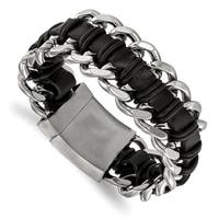 Chisel Stainless Steel Brushed and Polished Black Leather Bracelet - china