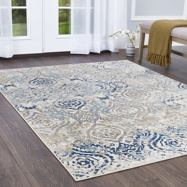 "Melrose Damask Ivory Blue Area Rug by Home Dynamix - 7'10"" x 10'2"""