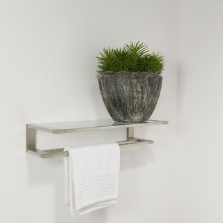 Tiger Towel Rack Double With Glass Shelf Items Polished Stainless Steel