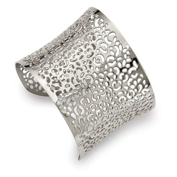 chisel-stainless-steel-polished-laser-cut-design-cuff-bangle by chisel