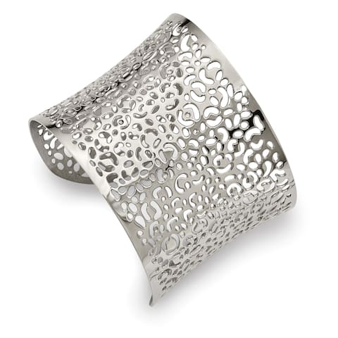 Chisel Stainless Steel Polished Laser cut Design Cuff Bangle