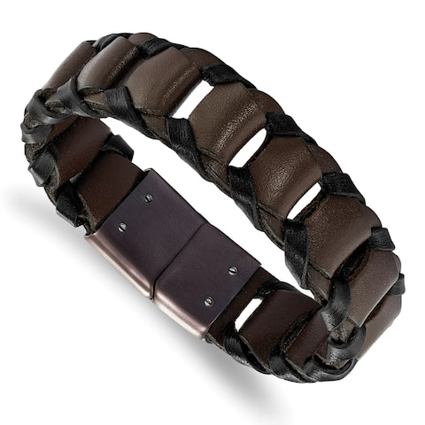 Chisel Stainless Steel Brown IP-plated Black and Brown Leather 8.25 Inch Bracelet