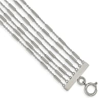 Chisel Stainless Steel Polished Multi Strand 7.5 Inch Bracelet