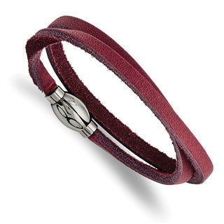 Chisel Stainless Steel Polished Purple Leather Wrap Bracelet